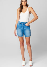 Blank NYC Warren High Rise Long Length Denim Short with Raw Hem - Whim BTQ