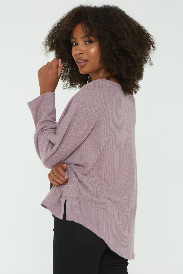 Project Social T DREAM THERMAL COZY V NECK in DUSTY LAVENDER - Whim BTQ