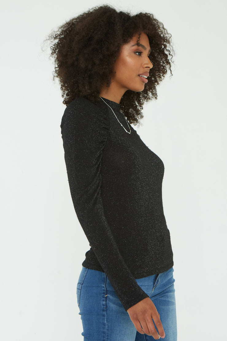 Project Social T LOVE LIKE RUCHED MOCKNECK in Black - Whim BTQ
