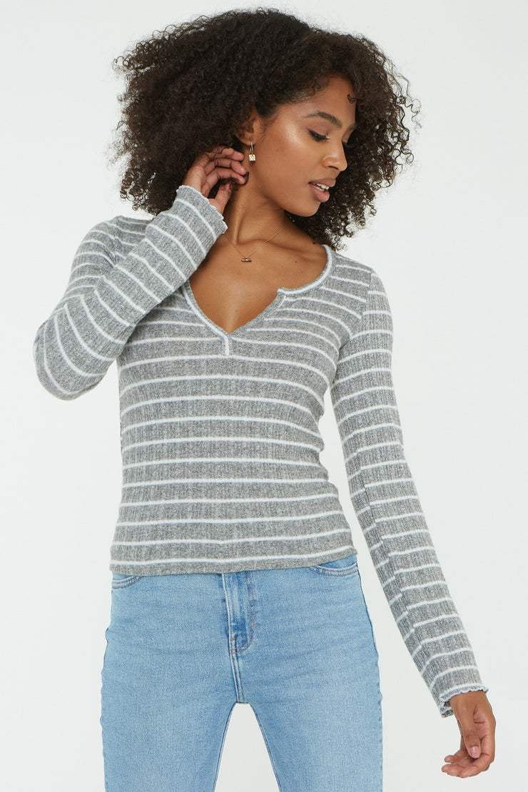 Project Social T Sage Striped Cozy Henley - Whim BTQ