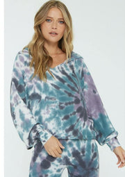 Project Social T ROLLING TIE DYE THERMAL HOODIE in Navy - Whim BTQ