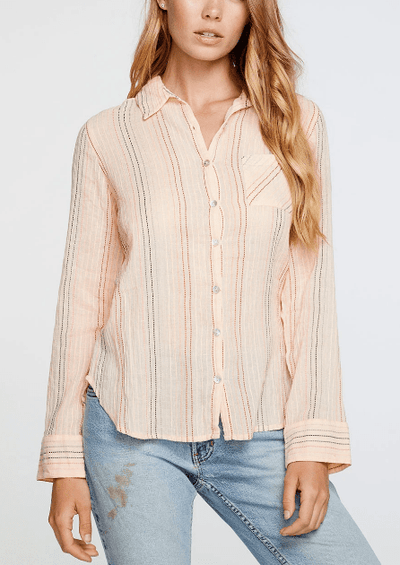 Chaser CLASSIC SHIRTING BUTTON DOWN IN PINK STRIPE - Whim BTQ
