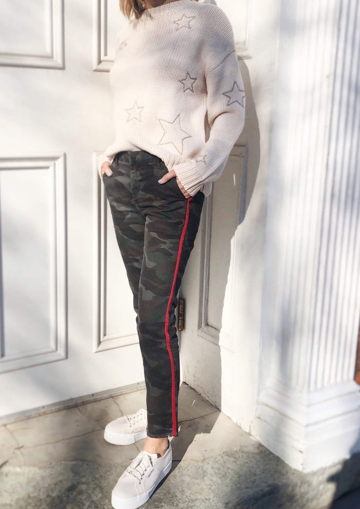 Sundry Camo Trouser With Stripe