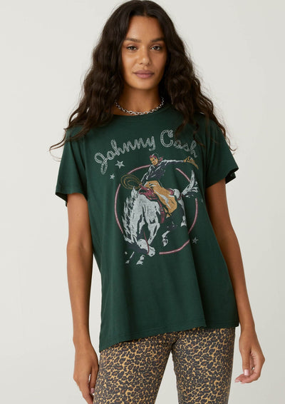 DayDreamer Johnny Cash Rodeo Tee In Emerald - Whim BTQ