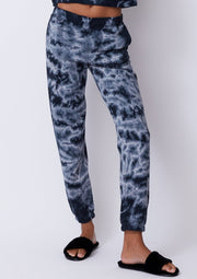 Monrow Crystal Tie Dye Boyfriend Sweats in Faded Black - Whim BTQ