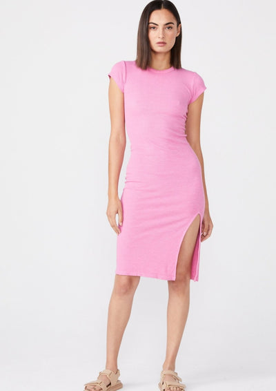 Monrow Supersoft Rib Cap Sleeve Dress in Hot Pink