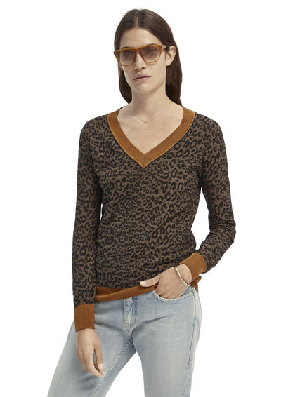 Scotch & Soda Leopard V Neck - Whim BTQ