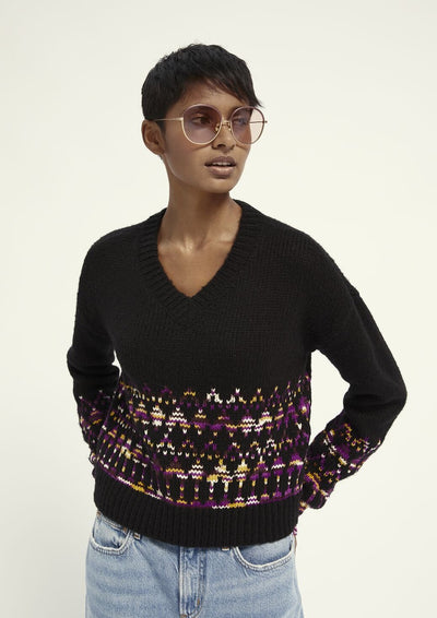 Scotch & Soda V Neck Space Yarn Fairisle - Whim BTQ