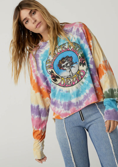 DayDreamer Grateful Dead Skull And Roses Tie Dye Long Sleeve Crop - Whim BTQ