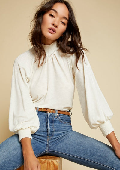 Nation Ltd Melanie Smocked Peasant Tee in Off White - Whim BTQ