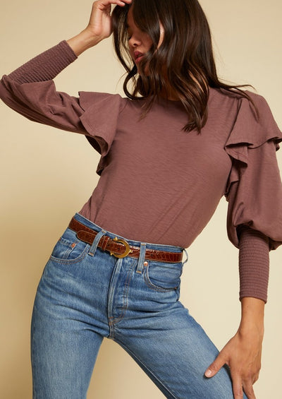 Nation Ltd Reeva Victorian Ruffled Tee in Mauve - Whim BTQ