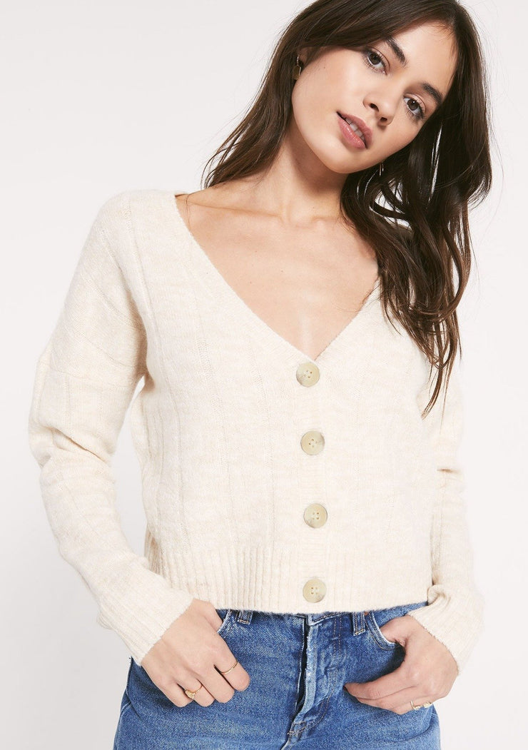 Rag Poets BUDAPEST CARDIGAN in Oatmeal - Whim BTQ