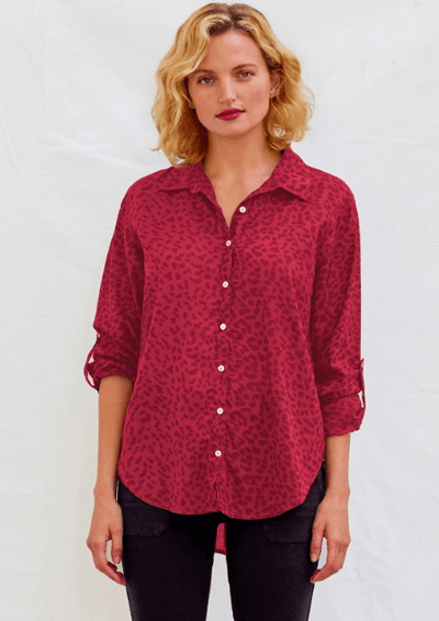 Sundry LEOPARD OVERSIZED SHIRT in Guava - Whim BTQ