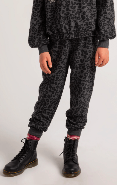 Z Supply GIRLS AVA LEOPARD JOGGER in Black - Whim BTQ