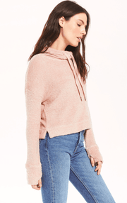 Z Supply Kacey Feather Hoodie in Silver Pink - Whim BTQ