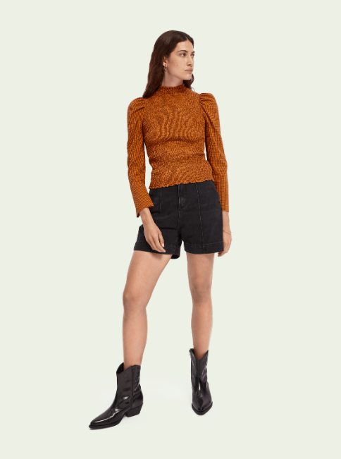 Scotch & Soda High Neck Smocked Top in Check - Whim BTQ