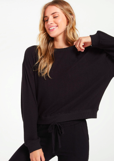 Z Supply Noa Marled Top in Black - Whim BTQ