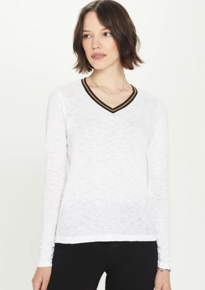 Goldie Metallic Tipped Long Sleeve V-Neck in White - Whim BTQ