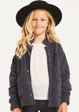 Z Supply Girls Maya Quilted Jacket in Washed Black - Whim BTQ