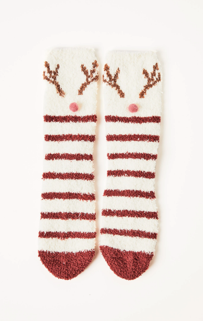 Z Supply Deer Plush Socks in Vanilla Ice - Whim BTQ