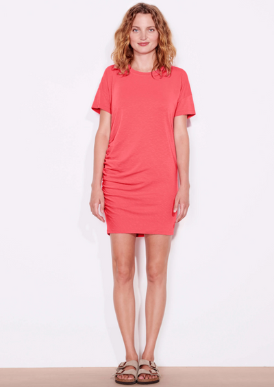 Sundry Side Shirred Dress in Hibiscus - Whim BTQ