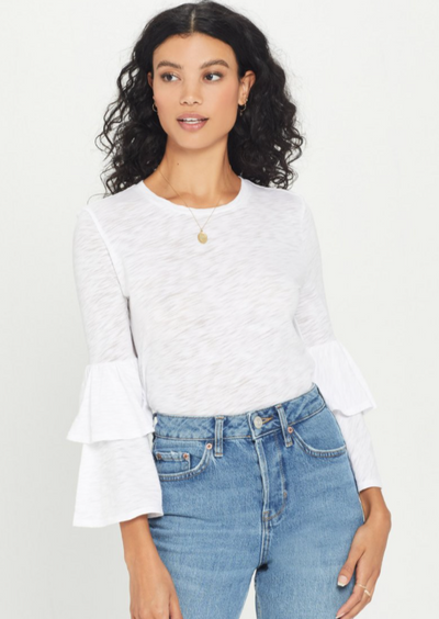 Goldie Double Ruffle Sleeve Tee - Whim BTQ