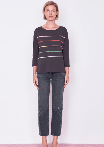 Sundry Multi Color Stripes Long Sleeve Coal - Whim BTQ