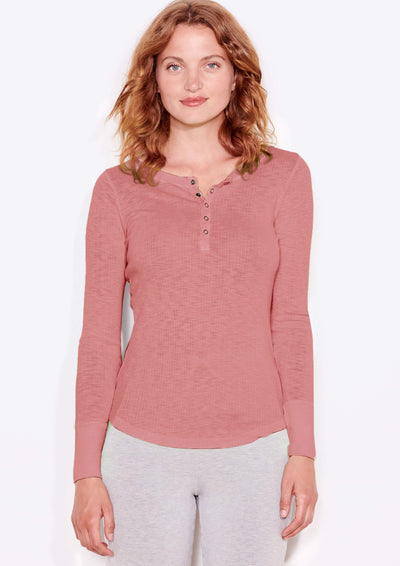 Sundry Fitted Henley in Faded Rose - Whim BTQ