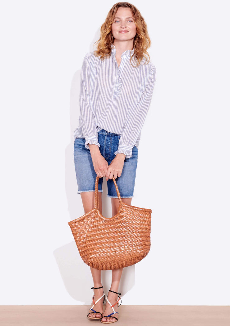 Sundry Ruffle Neck Blouse in Natural/Blue Stripes - Whim BTQ