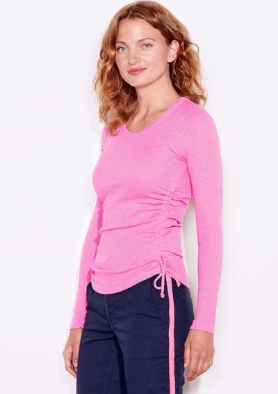 Sundry Shirred Seams Long Sleeve in Hot Pink - Whim BTQ