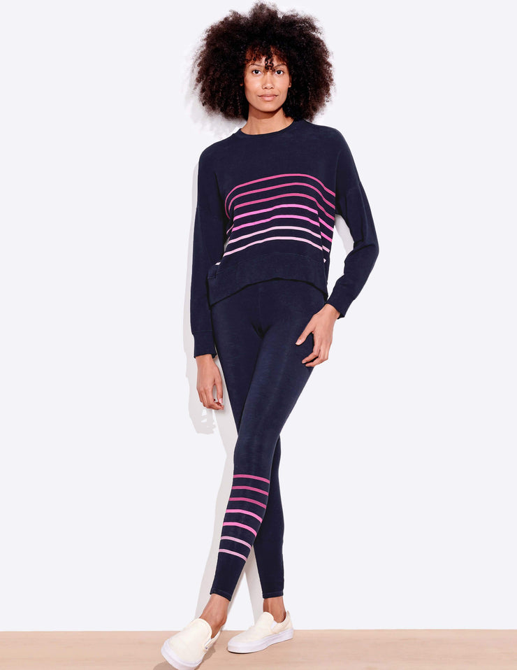 Sundry STRIPES YOGA PANT in Navy - Whim BTQ