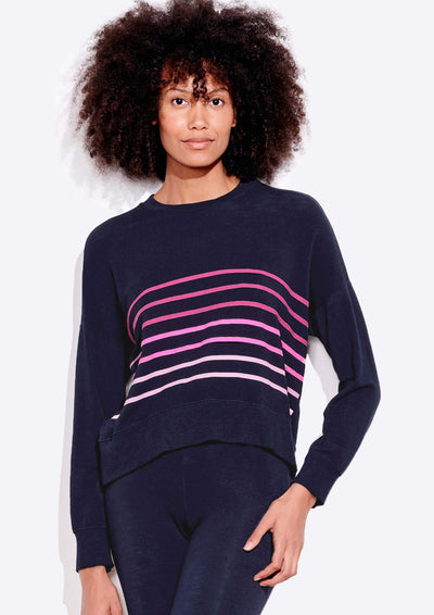 Sundry STRIPES OVERSIZED SWEATSHIRT in Navy - Whim BTQ