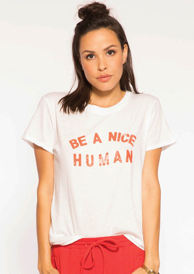 Sub_Urban Riot Be A Nice Human Loose Tee In White - Whim BTQ