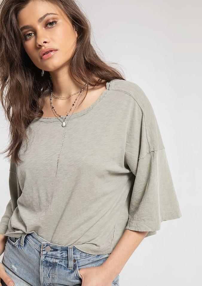 White Crow Emilia Tee in Sea Grass - Whim BTQ