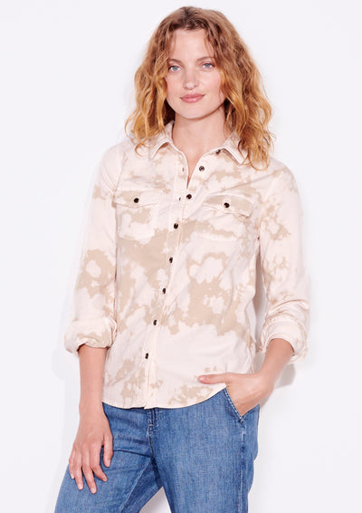 Sundry Classic Button Up in Shell Tie Dye
