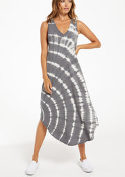 Z Supply Reverie Spiral Tie-Dye Dress in Charcoal - Whim BTQ