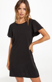 Z Supply Sofia Cotton Slub Dress in Black - Whim BTQ