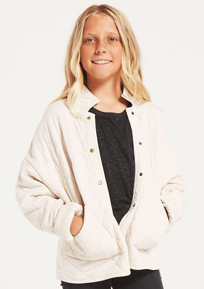 Z Supply Girls Maya Quilted Jacket in Bone - Whim BTQ