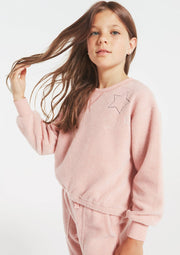 Z Supply Girls GIRLS LOGAN FLEECE CREW in Rosy PInk - Whim BTQ