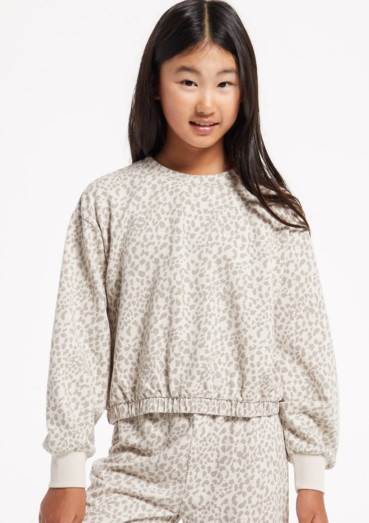 Z Supply GIRLS CARMEN LEOPARD PULLOVER - Whim BTQ