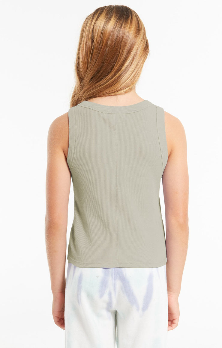 Z Supply Girls Oaklynn Rib Tank in Sage - Whim BTQ