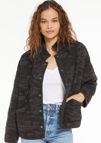 Z Supply Maya Camo Quilted Jacket In Dark Charcoal - Whim BTQ