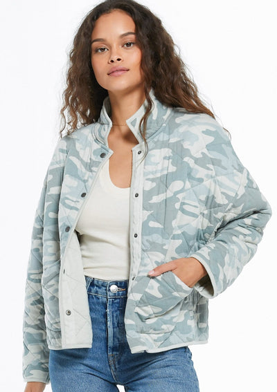 Z Supply Maya Camo Quilted Jacket In Dusty Sage - Whim BTQ