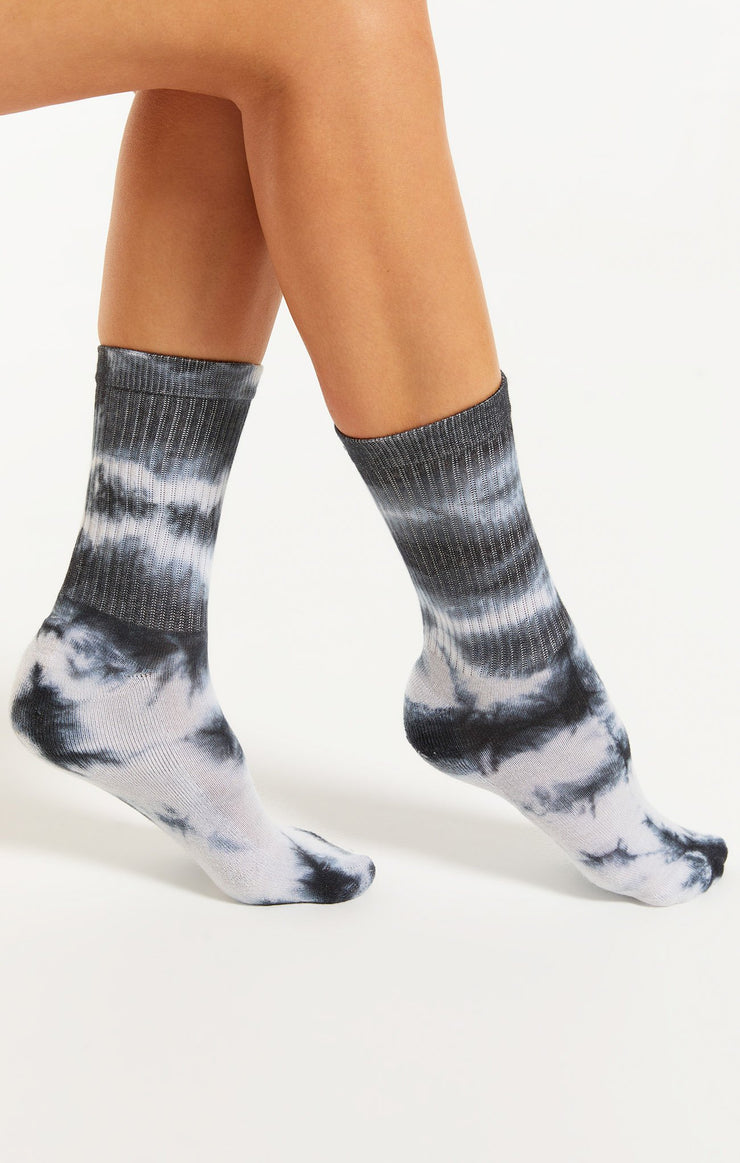 Z Supply Tie-Dye Socks in Black - Whim BTQ