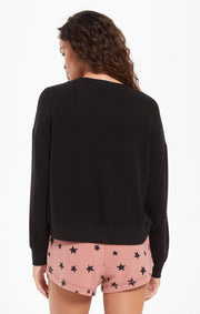 Z Supply Elle Rose Long Sleeve Top In Black - Whim BTQ