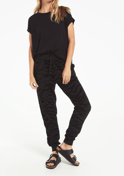 Z Supply ERIS TIGER FLOCKED JOGGER in black - Whim BTQ