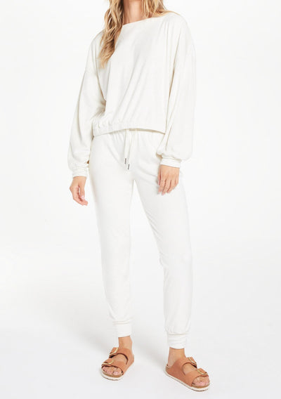 Z Supply EVALYN VELOUR JOGGER PANT in Vanilla Ice