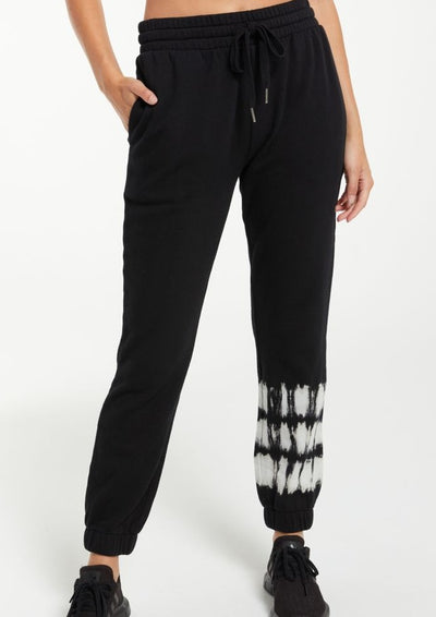 Z Supply Selene Stripe Tie Dye Jogger in Black - Whim BTQ