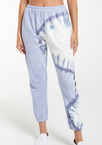 Z Supply Sunburst Tie Dye Jogger in Ice Blue - Whim BTQ