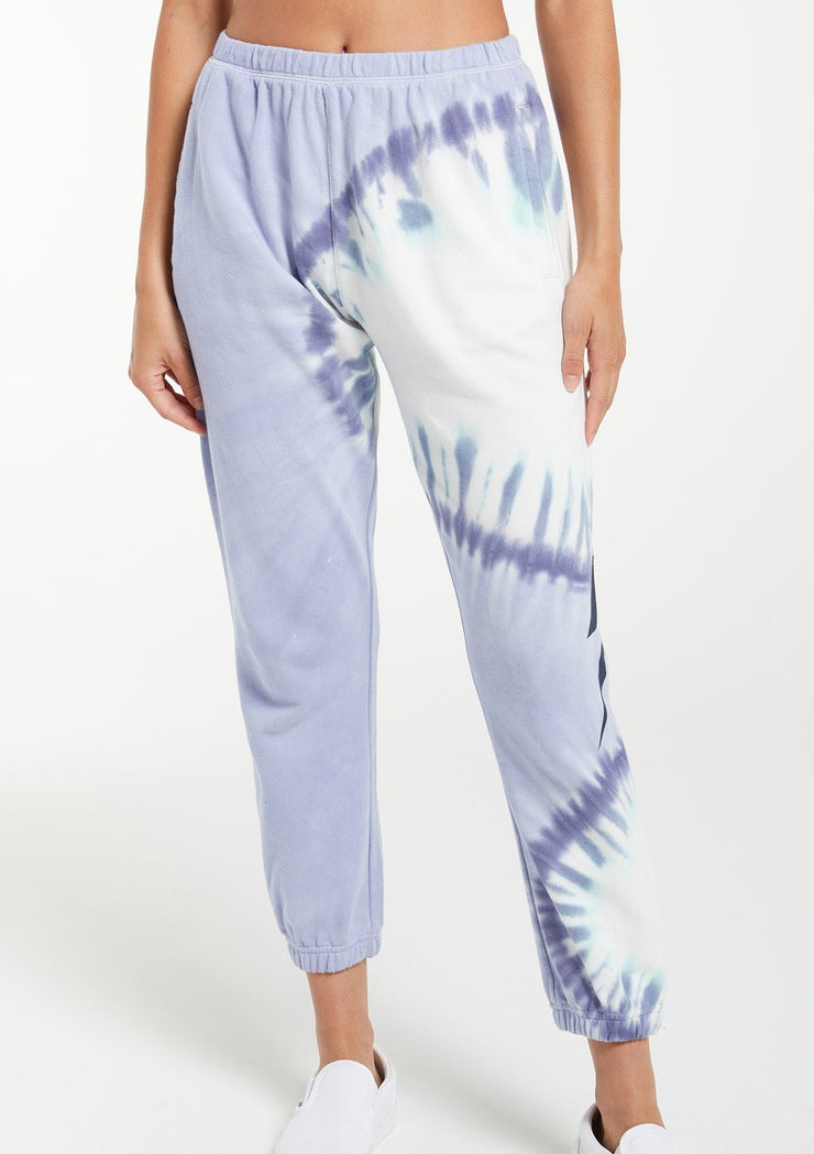 Z Supply SUNBURST TIE-DYE JOGGER in Ice Blue - Whim BTQ